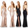 Chaud-Rose sexy/noir de supports Glittery a fendu la robe de soirée Profonde-v de Sequin Backless (Dream-100046)