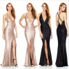 Glittery Braces Sexy Hot-Slit Backless Sequin Deep-V Evening Dress (Dream-100046)