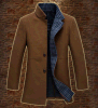 Medium Long Men's Padded Fashion Wool Collar-Stand Coat