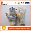 PVC перчаток Knit шнура хлопка/полиэфира голубой ставит точки одна сторона с логосом (DKP155)