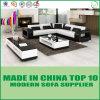 Ledernes modernes Eckliegesofa-hölzernes Sofa