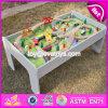 Novo design infantil educacional brinquedos de atividades conjunto de mesa de trem de madeira W04c070