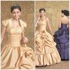 2012 querido encantador novo A - a linha revestimento da bainha Appliqued os vestidos perlados flor de Quinceanera do tafetá do plissado (QD-024)