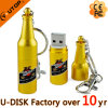 Изготовленный на заказ USB Pendrive бутылки пива золота логоса (YT-1216)