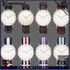 Fábrica de piedra delgada calificada Yxl-026 del reloj de China del reloj del cuarzo de la dial de los relojes de la correa de nylon grande de los hombres