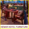 Vector de cena de la teca y sillas/muebles al aire libre de madera del restaurante para el centro turístico del hotel