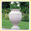 白い大理石の庭の装飾の花の円形の鍋