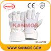 De witte Handschoenen van het Werk van het Leer van de Bedrijfsveiligheid van de Korrel van de Zweep (120041)