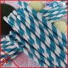 Pajas de beber del papel azul de la paja plástica rayada de la paja