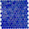 Tuile de mosaïque de marbre en verre bleue d'hexagone