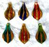 Золот-Фольга и цветастая картина тесемки внутри шкентелей формы листьев стеклянных (PENH0050)