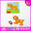 2015 venda por atacado Easy Jigsaw Puzzle para Children, Lovely Dog Shape Kids Wooden Puzzle Toy, Wooden Toy Puzzle Game com Knobs W14m070