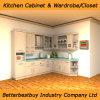 Gabinete de cozinha branco da madeira contínua da cor