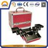 Schönheits-Fall-Krokodil-Druck-roter kosmetischer Aluminiumkasten mit Tellersegmenten (HB-2209)