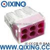 Ce 309 tipo empuje de Wago de 6 cuadrillas en el acero de Stainles del alambre o el conector del cobre con color púrpura