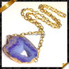 Druzy Geode Agate Pendants (FN069)のチェーンNecklace