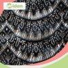 Cable de encaje de fantasía Negro red de nylon de la tela de encaje con diamantes de imitación