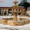Fontaine d'or antique de marbre de sculpture en pierre de calcium (SY-F065)