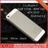 1: Estrella capacitiva H2000++ de 1 solos del micr3ofono SIM de la tarjeta Phone5 I5 Mtk6577 del androide 4.0 cámara elegante 4.0 del teléfono móvil los 512m 16g 8.0MP ''