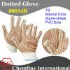 7g Natural Color полиэстер / хлопок трикотажные перчатки с Браун Squre-Shape ПВХ Dots