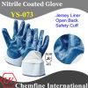 Джерси перчатка с голубой Нитриловое покрытие & открытой спиной и безопасности манжеты / EN388: 4221 / Размер 8 , 9, 10 , 11 (YS-073)