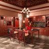 Antieke Chinese Rode Stevige Houten Keukenkasten (OP13-013)