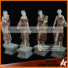 Color Mixed Carved Stone Marble Four Season Lady Statues con Fruites