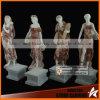Cor misturada mármore de pedra cinzelado senhora Estátua de quatro estações com Fruites