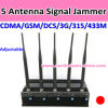 1W 5 Antenna Signal Jammer con Highquality