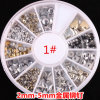 최신 Metallic Stud Gold 및 Silver Design Mix Nail Art Decoration Rivet Stickers Rivet