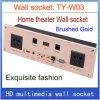 Os multimédios video universais da informação da rede RJ45 Mic do USB do VGA do plugue HDMI do soquete de parede dirigem o ouro do soquete de parede Ty-W03 do hotel KTV