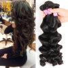 Tessuto allentato dell'onda di Losse dell'onda dei capelli di estensione dei capelli peruviani umani poco costosi del Virgin 4 gruppi dell'onda dei capelli allentati peruviani del Virgin ondulati