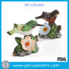 Porcelana Bird Stand em Flower Figurine
