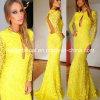 Gelbes Spitze-formales Kleid-Backless langes Hülsen-Abend-Kleid E141016