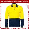 蛍光黄色く青い安全ポロシャツの長い袖(ELTSPSI-16)