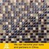 Mosaico de piedra de Travertino del color oscuro con el azulejo de mosaico del vidrio cristalino