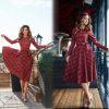Rot überprüft populäre Retro Schwingen-Kleider der langen Hülsen-Frauen