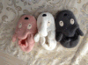 3つのカラー動物ヘッド編む靴