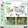 Tipo asiatico carrello di acquisto del supermercato con le rotelle della parte girevole