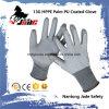 ранг покрынная PU отрезока 13G упорная работы перчаток вровень 3 и 5