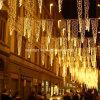 크리스마스 거리 장식이 옥외 LED 커튼 고드름 끈에 의하여 LED 점화한다