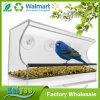 Alimentador de acrílico del pájaro de la ventana de diversa dimensión de una variable grande clara