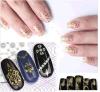 etiqueta do prego das etiquetas da arte do prego do decalque da flor do laço do ouro 3D