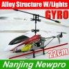 Hélicoptère de PoMicro 22cm 3-Channel RC avec le modèle de festival de cravate tissé par lyester des pièces de rechange de Gyroscope+Alloy Structure+LED Lights+Free (NP0446)