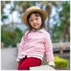 Baumwolle 100% gestrickte lange Hülsen-runder Stutzen-Strickjacke für Mädchen