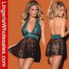 La turquoise sexy des femmes et le jeu noir de lingerie de Halter de Babydoll de lacet