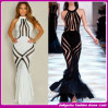 2015 шикарное Round Collar White и Black Cocktail Dress Bandage макси Long Dress (O23344)