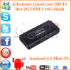 CS868 mini base androide Allwinner A31 del patio del palillo de la PC TV