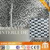 Blanco y negro del tablero de ajedrez de mezcla vidrio cristalino del mosaico (G423012)