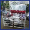 Caixa acrílica elegante transparente da beleza da composição de 5 gavetas
